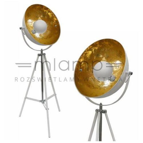 Industrialna lampa podłogowa antenne ts-090522f-whgo stojąca oprawa studyjna na trójnogu loft tripod biała złota marki Zumaline