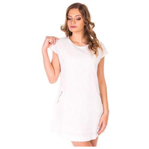 f153117986 Biała sukienka mini trapezowa z kieszeni.
