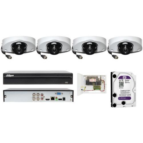 Zestaw monitoringu na 4 kamery full hd z płaskim profilem marki Dahua