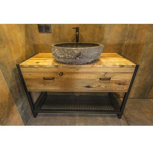 Szafka łazienkowa, stare drewno sosnowe + stalowa rama, duża szuflada marki Retrocegielka