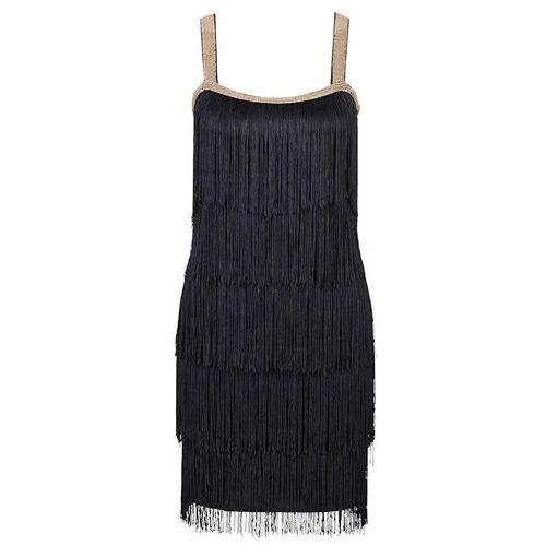 Bonprix Sukienka z frędzlami czarny