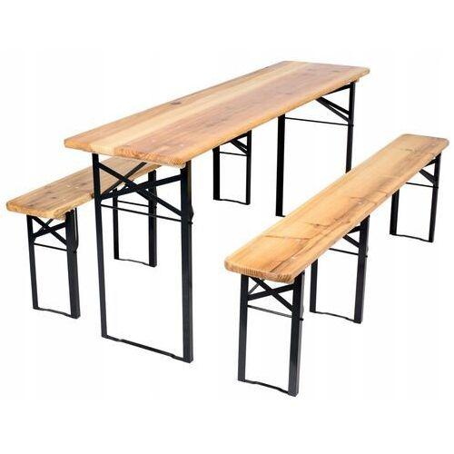 Meble ogrodowe drewniane składane zestaw piwny 180cm