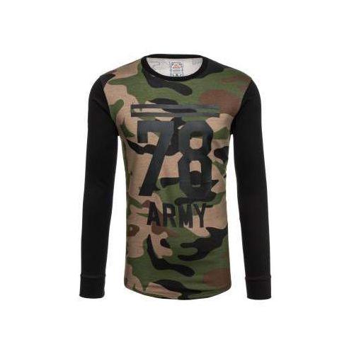 Bluza męska bez kaptura z nadrukiem moro-khaki denley 0746 marki Athletic