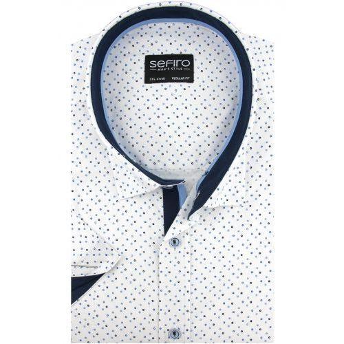 Duża koszula męska biała w granatowe kropki na krótki rękaw duże rozmiary k833, Sefiro
