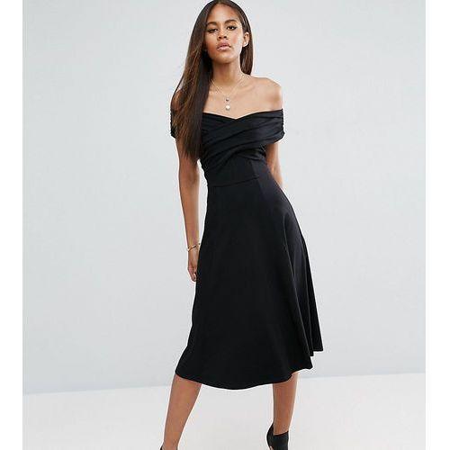 ASOS TALL Midi Skater Dress with Bardot Neckline - Black, kolor czarny