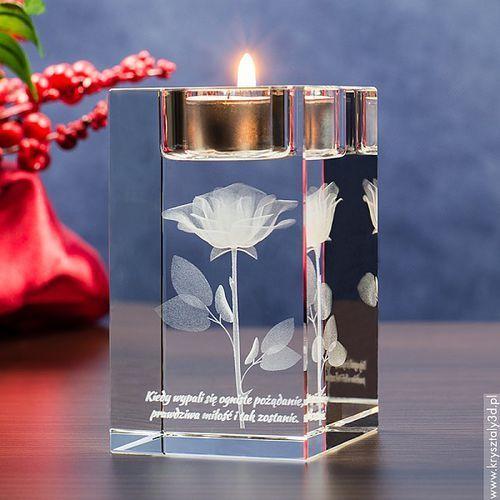RÓŻA 3D Namietności ♥ personalizowany świecznik • GRAWER 3D - OKAZJE