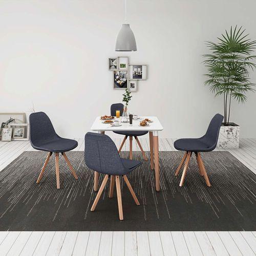 vidaXL Zestaw mebli do jadalni 5 elementów biały stół i ciemno szare krzesła