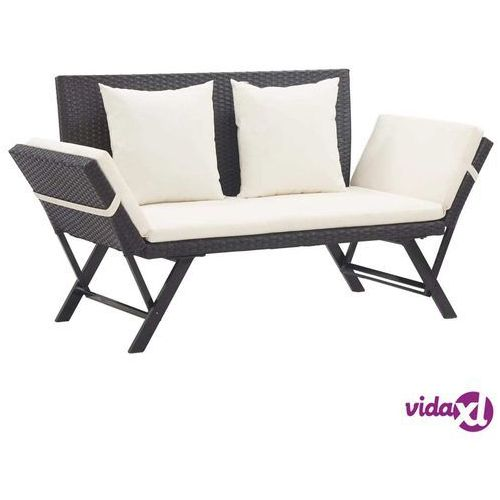 ławka ogrodowa z poduszkami, 176 cm, czarna, polirattan marki Vidaxl
