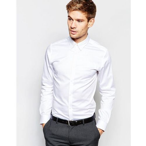 Selected Homme Shirt with Concealed Button Down Collar in Slim Fit - White