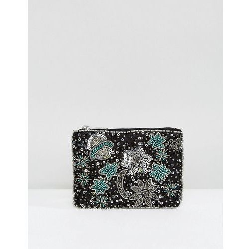 New Look Stars and Moon Zip Top Coin Purse - Black