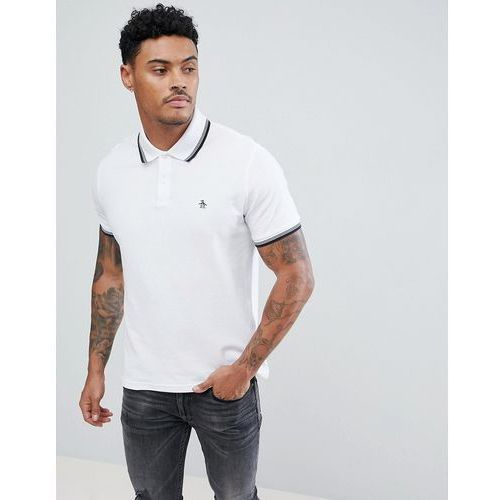pique tipped polo slim fit small logo slim fit in white - white, Original penguin, S-XL