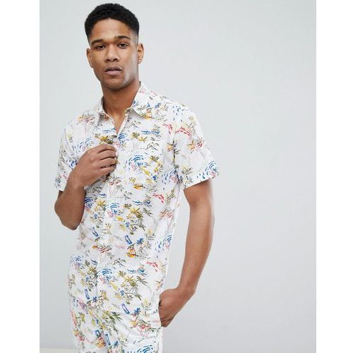 Bellfield short sleeve shirt with hawaiian print - white