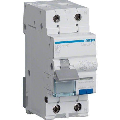 Hager RCBO Wyłącznik różnicowoprądowy z członem nadprądowym 1P+N 6kA B 10A/30mA Typ AC ADC910D (3250611010791)