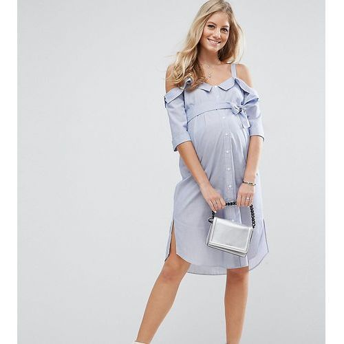 Asos maternity  petite cold shoulder shirt dress with foldover detail - blue
