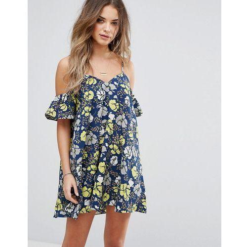 floral print cold shoulder mini dress - navy, Boohoo