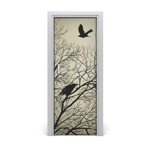 Naklejka samoprzylepna na drzwi Wrony na drzewie