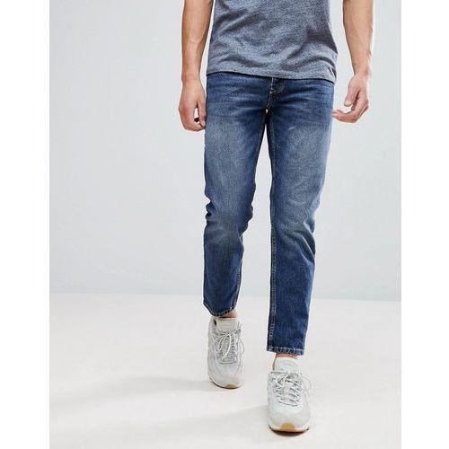 River Island Tapered Jeans In Dark Blue Wash - Blue, kolor niebieski