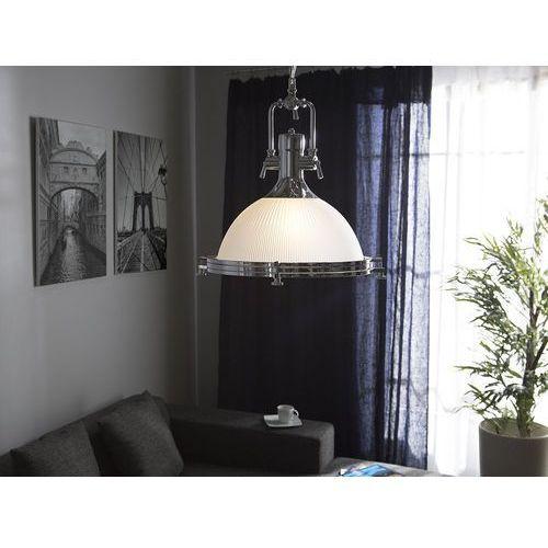 Beliani Lampa wisząca szklana biała/srebrna ebron (4260586358261)