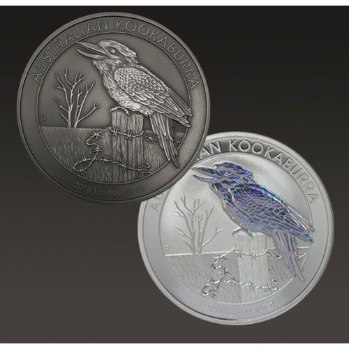 Zestaw monet uszlachetnianych - australijska kookabura 1 uncja srebra marki Perth mint