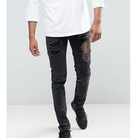 ASOS TALL Skinny Jeans With Biker Zip And Rips Details In Washed Black - Black, jeansy