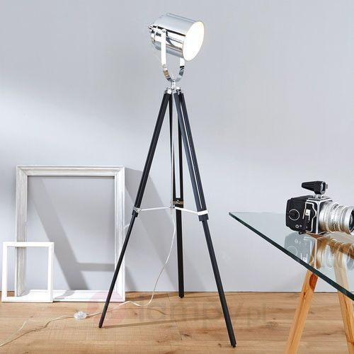 Brilliant Mettle lampa stojąca Chrom, Czarny, 1-punktowy