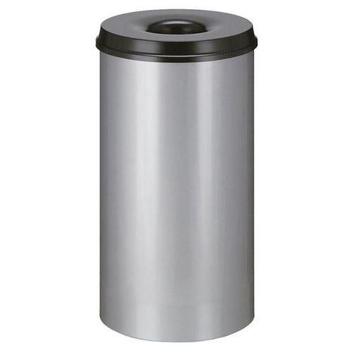 Kosz na papier, samogaszący, poj. 50 l, korpus srebrne aluminium / głowica gaszą