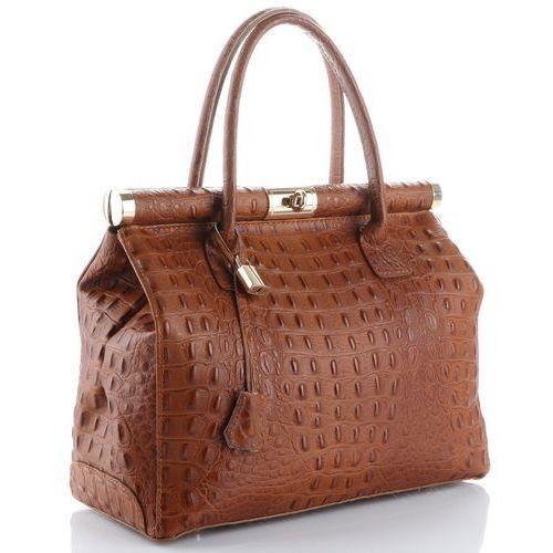 Genuine leather Eleganckie i pojemne włoskie torebki skórzane kuferki a4 zamykane na kłódkę firmy rude (kolory)