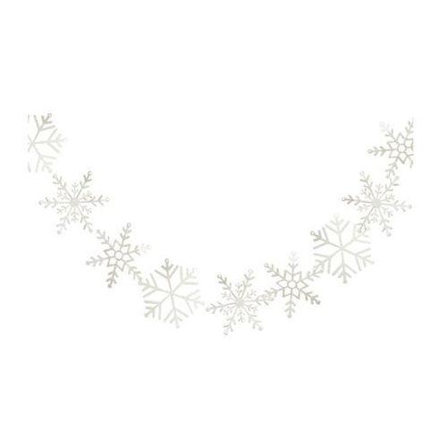 Girlanda białe brokatowe Płatki Śniegu - 200 cm - 1 szt.
