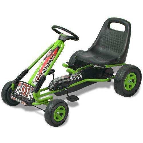 vidaXL Gokart dla dzieci, z regulacją siedziska, zielony