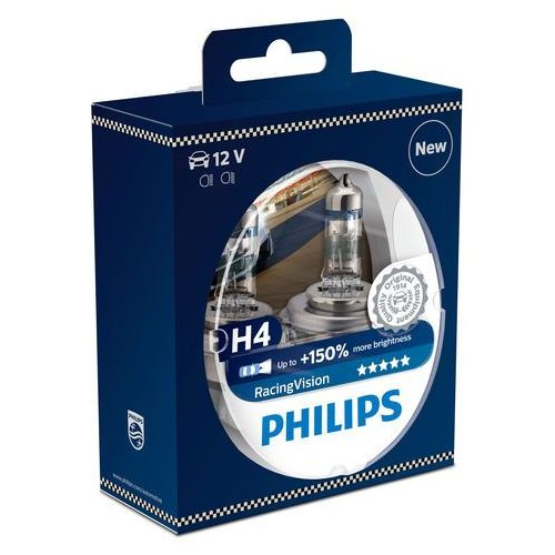 Philips 12342rvs2 racingvision + 150% h4 reflektor, podwójny zestaw