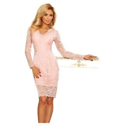 Numoco Jasnoróżowa koronkowa sukienka koktajlowa