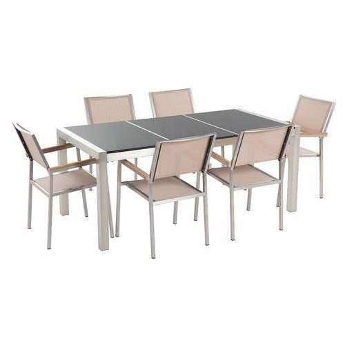 Beliani Zestaw ogrodowy naturalny kamień 180 cm 6 osobowy beżowe krzesła grosseto (4260580937035)