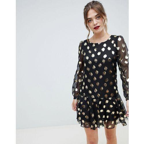 Glamorous metallic spot print dress - Black