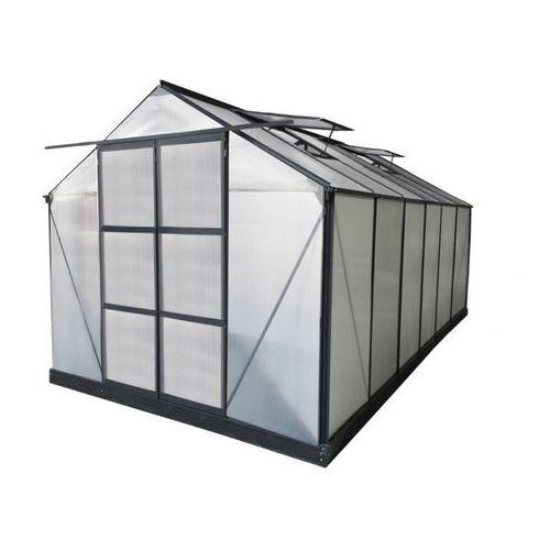 Szklarnia ogrodowa z poliwęglanu o pow. 13 m² kalida z podstawą - antracytowa - marki Vente-unique