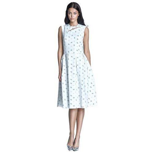Sukienka midi - ecru/beż - S73, kolor beżowy