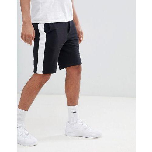 Bershka jogger shorts with side stripe in black - black