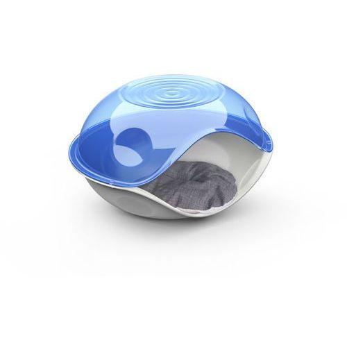 Budka dla kota DUCK z materacem niebieska