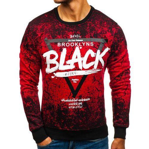 Bluza męska bez kaptura z nadrukiem czerwona denley dd256 marki J.style
