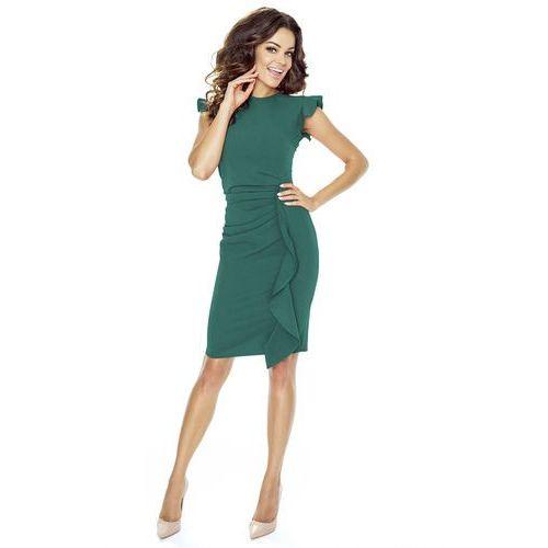 Zielona Sukienka Mini z Falbaną i Motylkowym Rękawkiem, w 5 rozmiarach