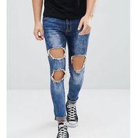 thigh rip dark blue wash super skinny jeans - blue marki Liquor n poker