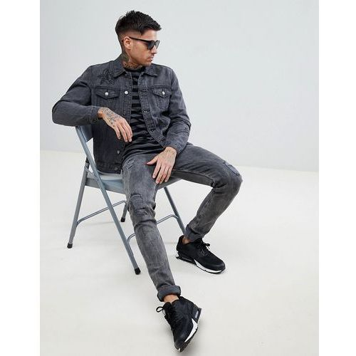 Boohooman denim jacket with rose embroidery in black wash - black