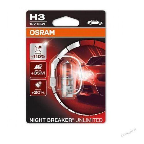 Osram h3 12v 55w pk22s night breaker® unlimited (do +110% więcej światła, do 35m-40m dłuższy zasięg,do +20% bielsze światło)