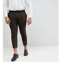 Heart & Dagger Plus Size Woven In England plus Skinny Cropped Trouser In Herringbone - Brown, kolor brązowy