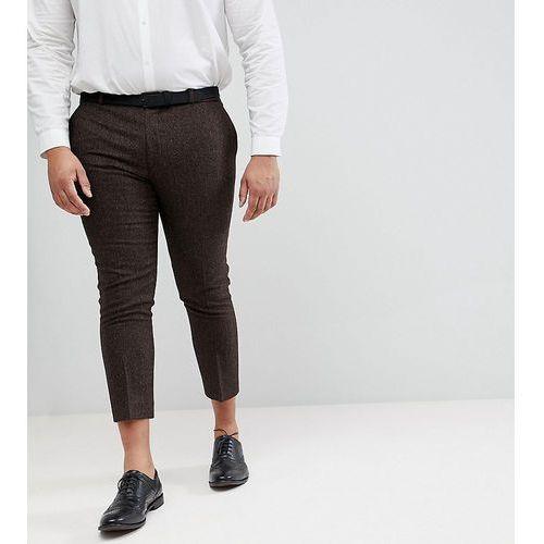 Heart & Dagger Woven In England PLUS Skinny Cropped Trouser In Herringbone - Brown, kolor brązowy