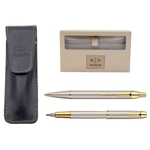Parker Zestaw  brushed gt pióro długopis grawer, etui skóra naturalna