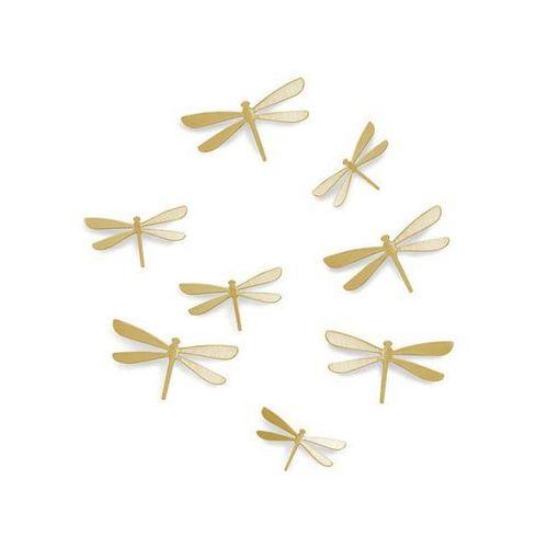 Umbra - dekoracja ścienna wallflower - biała - 10 szt - mosiądz