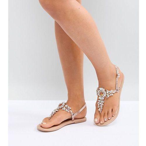 Asos design wide fit fairlight leather embellished flat sandals - gold