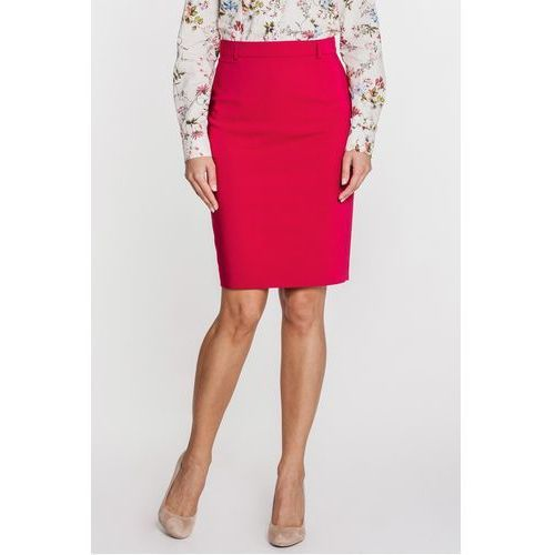 Czerwona spódnica ołówkowa ze szlufkami - Bialcon, kolor czerwony
