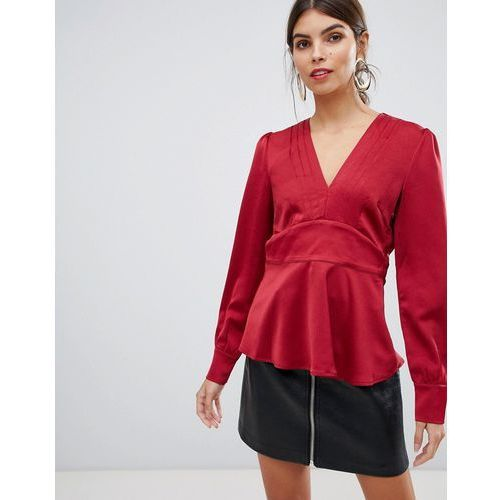 v neck blouse with pleat detail - red marki Y.a.s