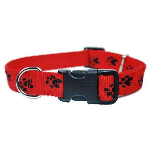 Chaba Obroża regulowana czerwona w czarne łapki 25mm/33-60cm, 6864